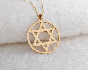 Star Of David Neckace,Mens Jewish Necklace,Hanukkah Necklace,Gold Star David Necklace,Mens Star of David Necklace,Judaica Hebrew Jewelry