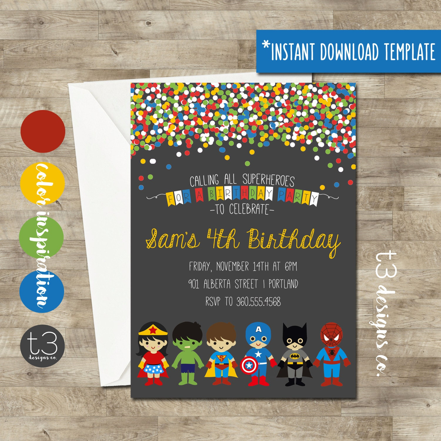 Instant Download SUPERHERO and SUPER GIRL Birthday Invitation diy
