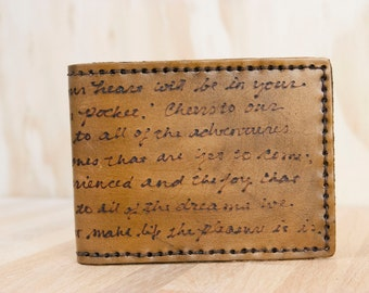 Personalized ID Bifold Wallet - Custom Mens Leather Wallet with Custom Inscription - Smokey Pattern - Antique Brown - Third Anniversary Gift
