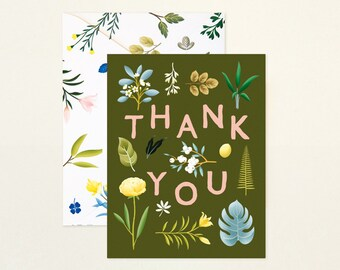 Assorted Botanical Thank You Card - Khaki