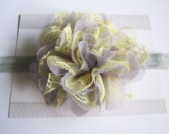 Grey and Yellow Chiffon Baby Headband, Infant Headbands, Baby Girl Headbands, Infant Bows, Baby Bows, Newborn Headbands