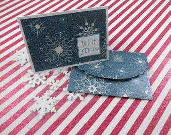 Let It Snow Note Cards -- Mini Note Cards -- Lunch Box Notes -- Card and Envelope Set -- Gift Card Holder