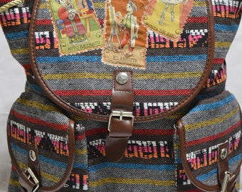 Mexican Loteria backpack, dia de los muertos backpack