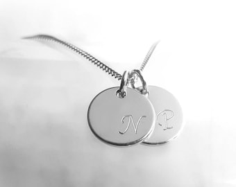 Two Discs Necklace, 925 Sterling Silver Initial Necklace, Curb Chain, Engraved Pendant, Personalized Charm, Silver Jewelry