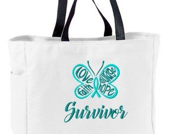Teal Butterfly Ovarian Cancer Awareness Survivor Love Faith Courage Hope Tote Bag