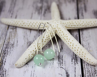 Green Chalcedony and Sterling Silver Dangle Earrings