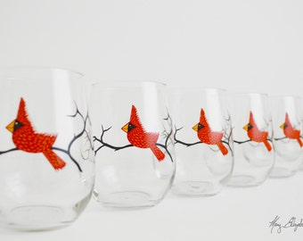 Stemless Red Cardinal Wine Glasses - Set of 6 Stemless Glasses, Red Bird Glasses, Red Bird Christmas Glasses, Red Birds, Bird Glassware