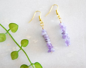 Amethyst Chip Bead Earrings, Purple Gemstone earrings, Boho Earrings, Gold Earrings, Gift for her, Birthday gift, Gift for women