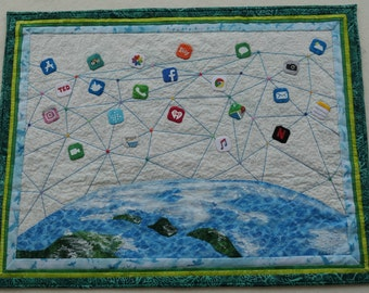 There's an App For That, Fiber Art, Art Quilt Wall Hanging