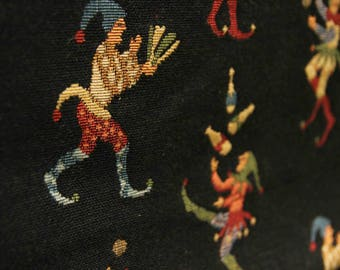 Amazing and fun vintage juggling jesters upholstery fabric