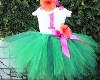 Green Hawaiian Custom Pixie Tutu - MALIA - Grass Hula Skirt Inspired Custom SEWN Tutu and Flower Headband - Luau Birthday Party Tutu