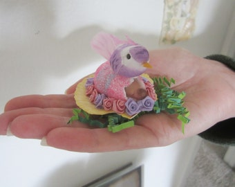 Polymer Clay OOAK MICRO Mini baby in Egg with Birdsitter