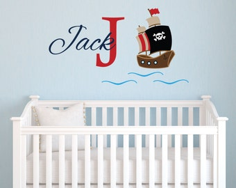 Personalized Name Monogram Pirate Ship Wall Decal, Pirate Custom Name Vinyl Decal for Kids, Removable Wall Sticker, Nursery wall decor