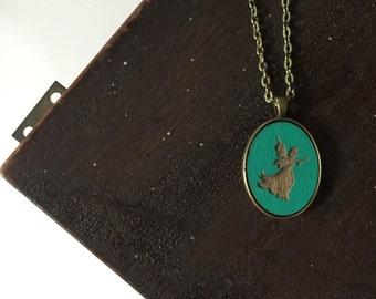 FAIRY turquoise fairy wooden pendant handmade necklace fairy tales brass pixie dust magic sleeping beauty teal