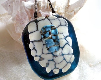 Statement Necklace in Fused Glass, Sterling Silver, Shield of Strength, Amazon Warrior Princess, Large Statement Pendant, Empowering Jewelry