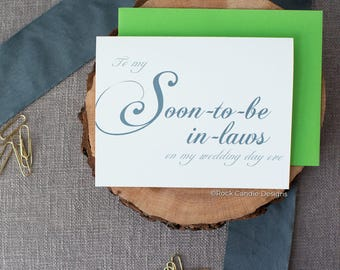 To My Soon-to-Be In-Laws On My Wedding Day Eve Card | Wedding Day Stationery for Your Soon To Be Parents | Card for Your Fiance's Parents