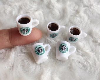 Starbuck Coffee Mug Ceramic, coffee cup Miniature,Miniature for Doll's House