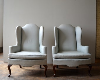 Pair Ethan Allen Lounge Wing Chairs