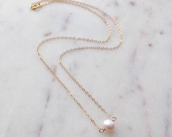 Mila Elegant Pearl Necklace - 14K Gold Fill Chain // Gift for wife // Handmade jewelry // Minimalist necklace