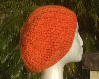 Orange Slouch Style Baggy Beanie