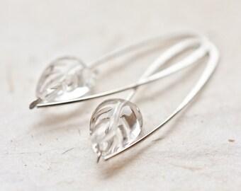 Modern Earrings Argentuim Sterling silver Crystal Quartz Carved Leaf Bridesmaid Wedding Fashion Simple Minimalist