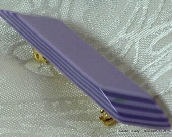 Lilac Lucite Vintage Brooch Pin Purple Bakelite Era Layered Unique Thermoset Pop Art Deco Unusual Designer Original Card Modernist Mad Men