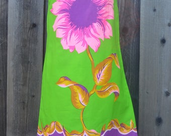 RESERVED for LaFlamenca, Fabulous House Dress, Mod Flower Power, Zip Up Back, Bold Print with Hot Pink and Purple Flower, Gilead, 1960s