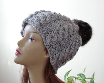 Cable Knit Hat Faux Fur Pompom Women Winter Hat Chunky Knit Hat Grey Marble Hat Black Pompom Acrylic Hat - Ready to Ship - Gift for Her