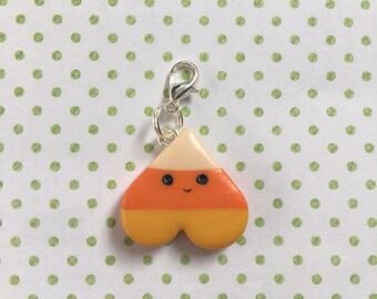 Kawaii Polymer Clay Halloween Candy Corn Heart Charm