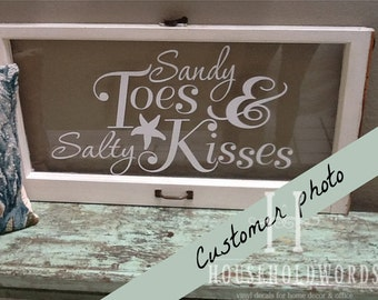 Sandy Toes and Salty Kisses Beach Wall Decal, Beach Decor Vinyl Wall Saying, Starfish Decals, Window Decals, Nautical Decals