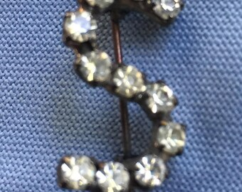 Initial S Pin,S Pin,Letter S Pin,Letter S Brooch,Initial S Brooch,S Brooch,Rhinestone S Pin,Rhinestone S Brooch,Initial Pin,Rhinestone S