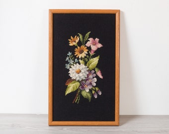 Vintage Floral Needlepoint Artwork - Black Backdrop Wood Framed Embroidered Cross Stitch Fabric Art Tapestry - Mother's Day Gift