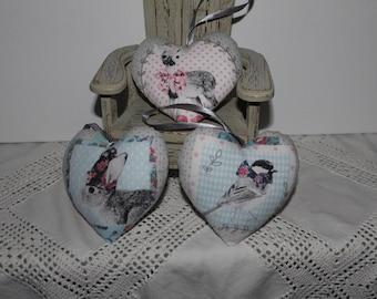Large heart fleece choice rabbit, Sparrow, Fawn 11 x 11 cm