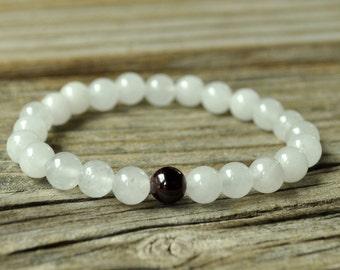 Base Chakra Mala, Garnet Bracelet, White Jade Bracelet, Yoga Bracelet, Meditation Bracelet, Reiki, Stretch Mala Bracelet