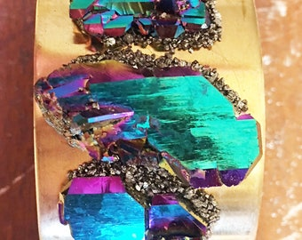 Rainbow Aura Cuff Bracelet