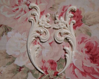 Shabby & Chic Acanthus Leaf Floral Sides Pair Furniture Applique Architectural Onlay Embellishment