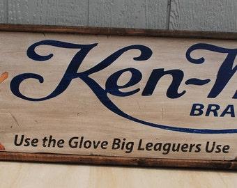 Antique style Ken-Wel  baseball Glove Lou Gehrig  Advertising Sign 12x48