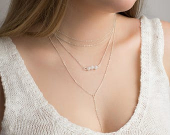 Moonstone Necklace. Delicate Stone Necklace. Silver Chain Choker Necklace. Dainty Stone Necklace. Simple Gemstone Choker. Crystal Necklace