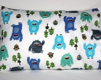 Yeti Flannel Pillowcase - fits 13 x 18 Travel or Toddler Pillow