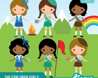 The Explorer Girls Clipart Set - Instant Download - PNG Files.