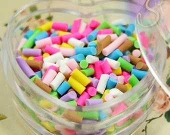 1 Heart Container Of Faux Miniature Sprinkles, Tiny Muticolor Clay Sprinkles For Resin, Polymer Clay, and Crafts, SZS1579