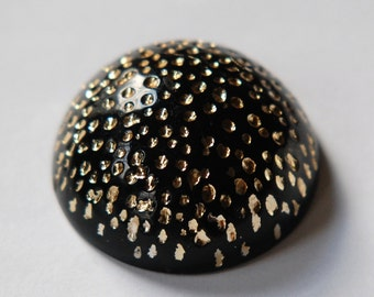 Vintage Large Black Acrylic High Dome Cabochon with Gold cab290B