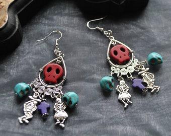 Day of the Dead Dancing Skeleton, Skull and Cross Earrings // Dia de los muertos // Calaveras // Mexican