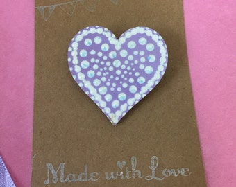 SALE - Wooden hand painted heart brooch / badge / pin. Purple/lilac. Free UK delivery