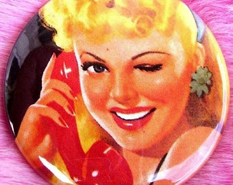 Pocket Mirror - Pinup Girl - Hello Operator - Blonde