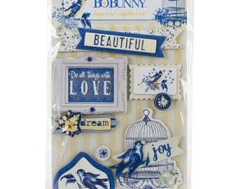 Bo Bunny Genevieve Layered Chipboard - Genevieve Layered Chipboard - Decorative Chipboard - Blue and Yellow Chipboard Embellishments - 4-058