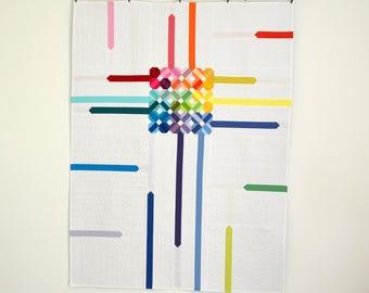 Modern Quilt, Contemporary Quilt, Rainbow Lap Quilt, Rainbow Bedding, Wedding Quilt