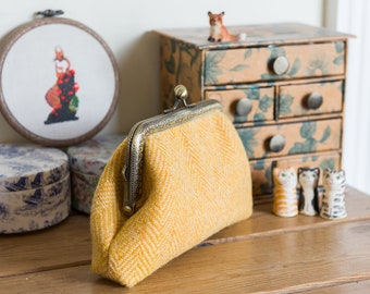 Harris Tweed purse in a larger size with Liberty tana lawn lining and an antique bronze snap frame and carrying chain