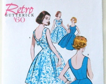 Butterick '60 Pattern - Retro 1960 sewing pattern 5748 for sleeveless, lined dress w/ close-fitting bodice & flared skirt; Mid-century style