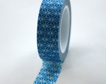 Washi Tape - 15mm - Bright Blue and White Geometric Pattern - Deco Paper Tape No. 340
